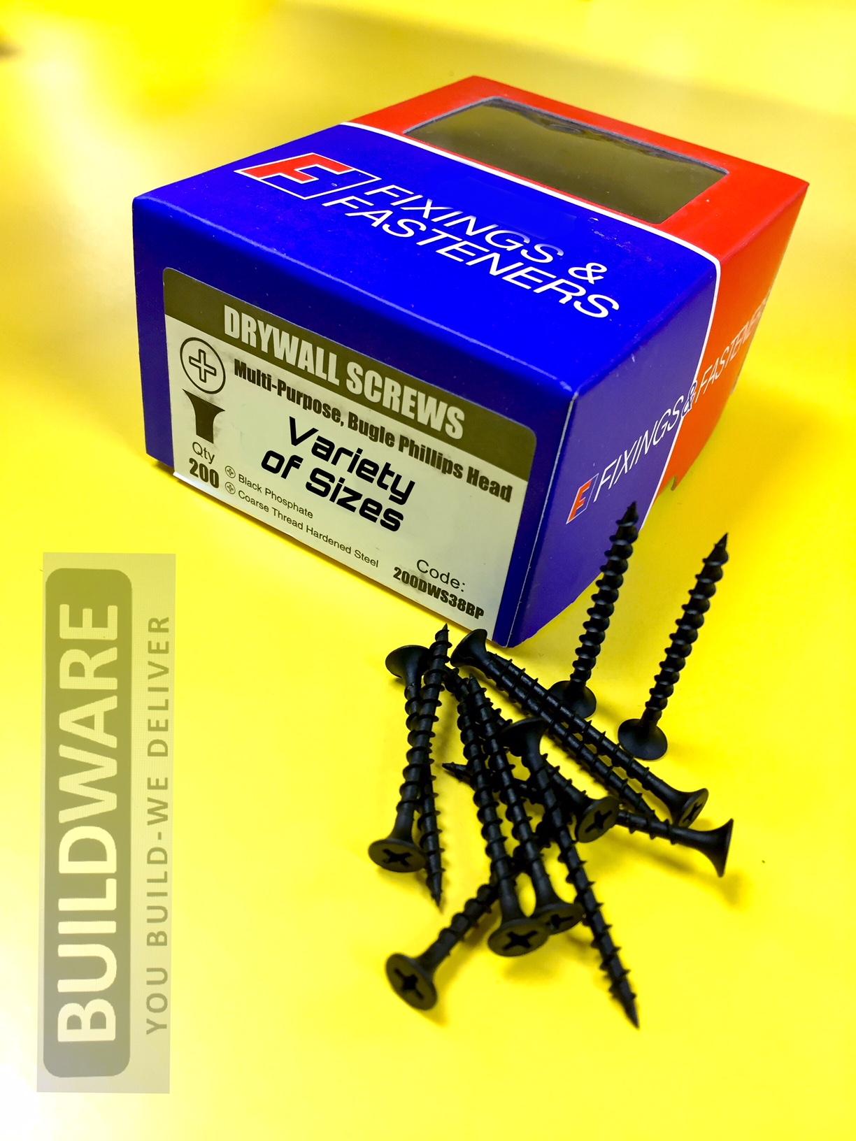 """3.5x 25mm Multipurpose Dry wall Screws Black Phosphate 6 X 1"""" PACK of 25-200"""